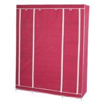 Mendler - Armoire penderie pliante tissu de camping 173x135x45cm ~ rouge