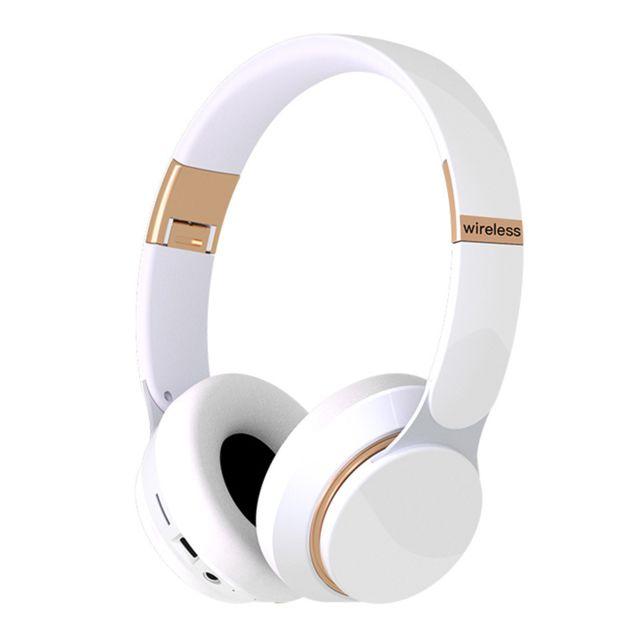Casque Bluetooth Sans Fil Casque de jeu avec microphone intégré Blanc