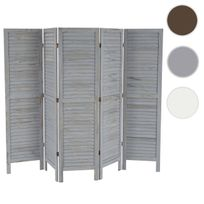 Mendler - Paravent / s?paration bois, 5 pans, 228x2x170cm, shabby, vintage, gris