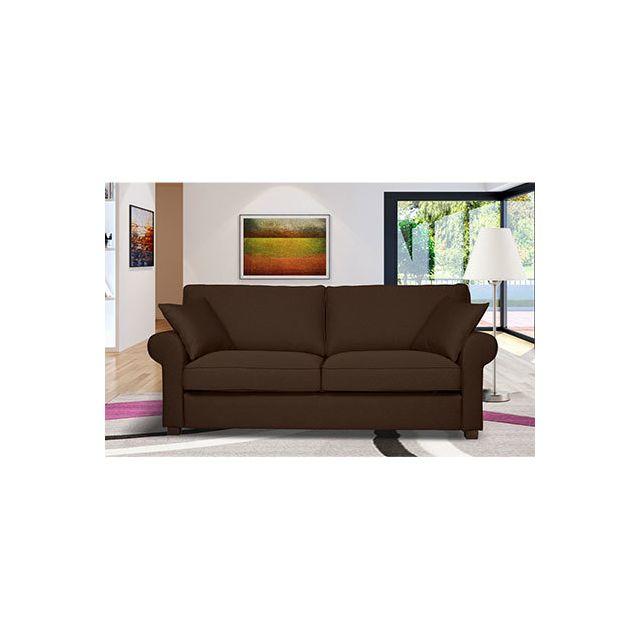 Canapé 3 places fixe en tissu marron - Gabriel