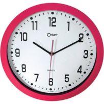 Horloge murale silencieuse Ø30cm fushia