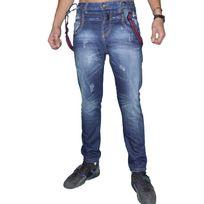 Marque Inconnue - Justing - Jean - Homme - St 01006 - Regular Fit - Bleu Stone Delave Bretelles