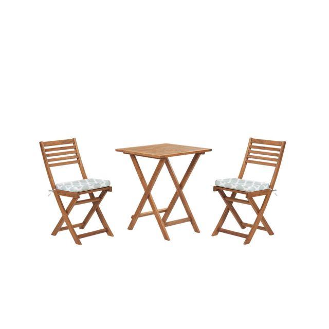 BELIANI Table et 2 chaises de jardin en bois avec coussins vert menthe FIJI - blanc