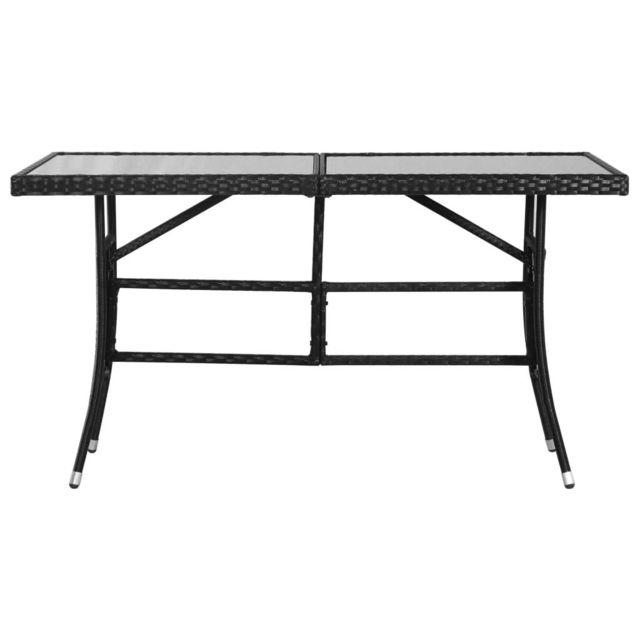Icaverne - Tables de jardin ligne Table de jardin Noir 140x80x74 cm Résine  tressée