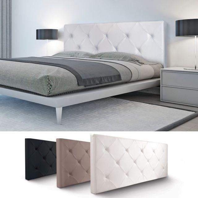 IDMARKET Tête de lit capitonnée PVC blanc 160x60cm imprimé 14 boutons