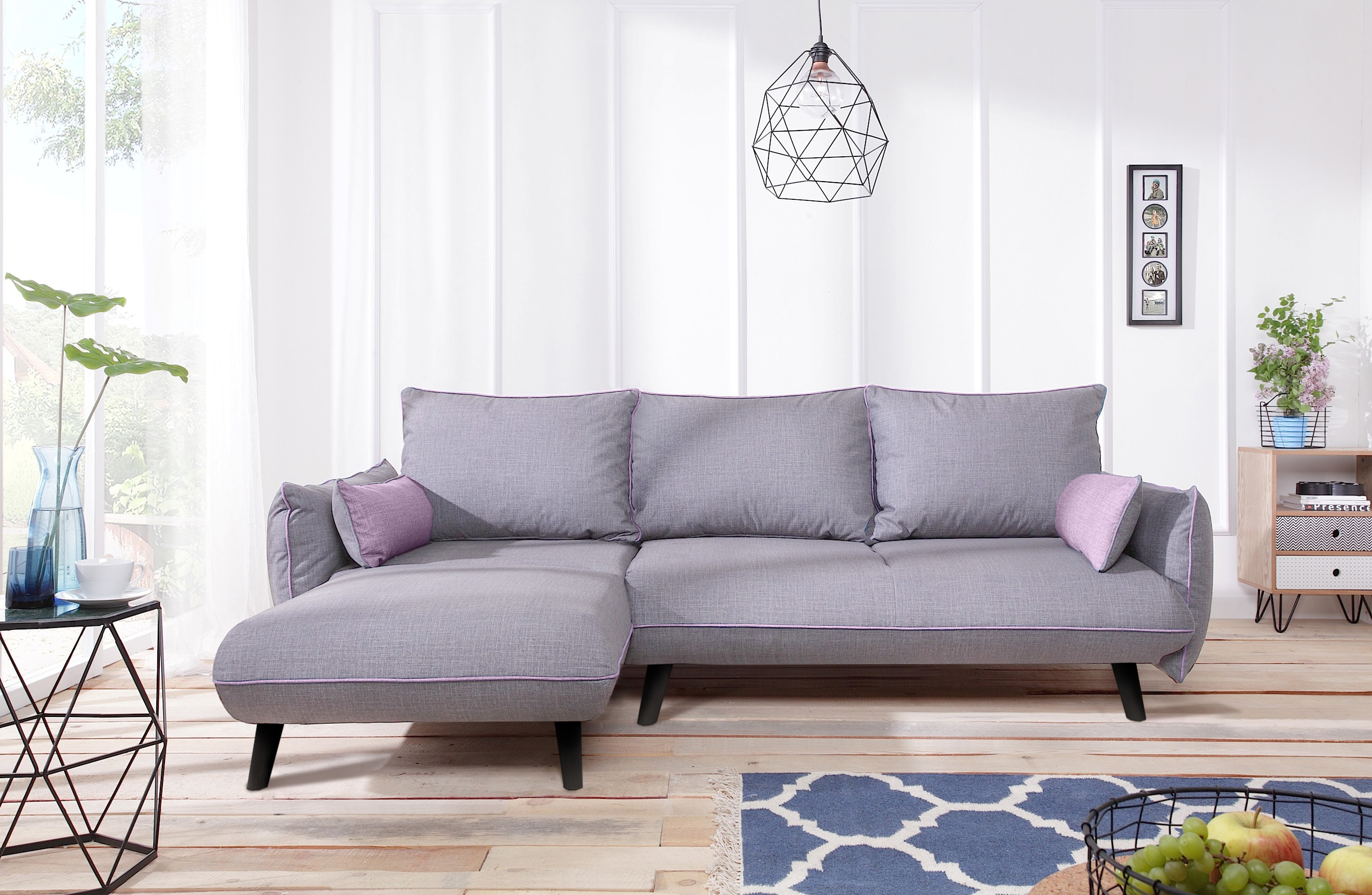 bobochic canap milano 4 places angle gauche convertible gris clair avec passpoil rose. Black Bedroom Furniture Sets. Home Design Ideas