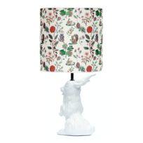 Domestic - Jeannot Lapin - Lampe à poser Céramique Blanc et abat-jour Tissu Automne H60cm - Lampe à poser designé par Nathalie Lété