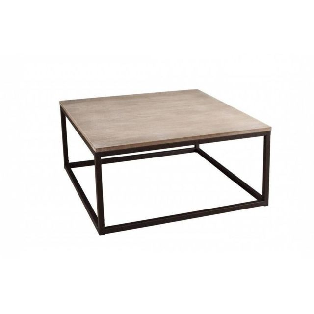 Parfait Inside 75   Table Basse Industrielle Carrée 90 X 90 Cm Lea En Bois De  Paulownia