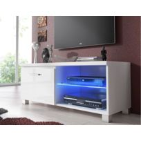 Comfort - Home Innovation - Meuble bas Tv Led, Salon-Séjour, Blanc mate et Blanc Laqué