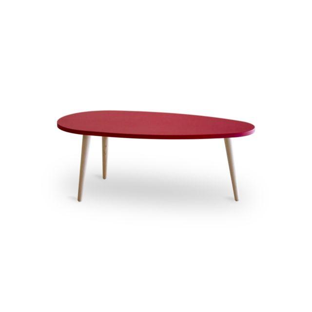 usinestreet table basse scandinave woody mat avec pieds en bois massif couleur rouge 88cm. Black Bedroom Furniture Sets. Home Design Ideas