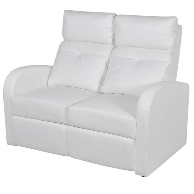 Vidaxl Canapé inclinable Cinéma maison 2 sièges en cuir synthétique blanc