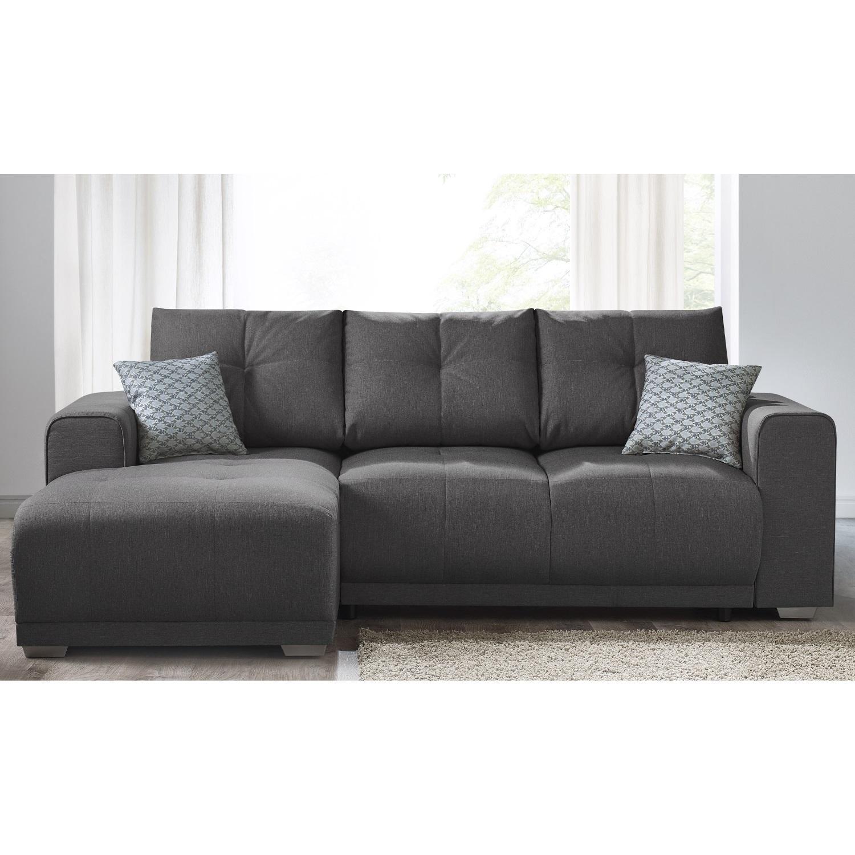 bobochic canape d 39 angle convertible avec tag re lisbona 4 places angle gauche gris. Black Bedroom Furniture Sets. Home Design Ideas