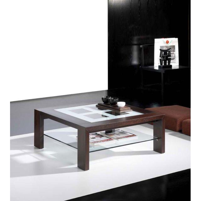 Sofamobili Table basse carrée wengé avec 2 plateaux en verre contemporaine India