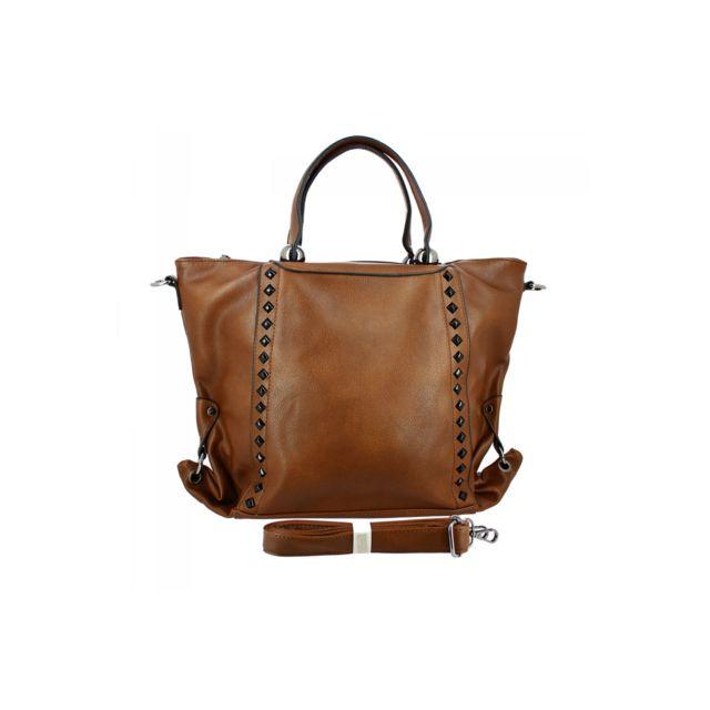 9395f79d22 Langrand - Sac citybag avec clous coffee - zonedachat Tu - Marron - pas  cher Achat   Vente Sacs à main - RueDuCommerce