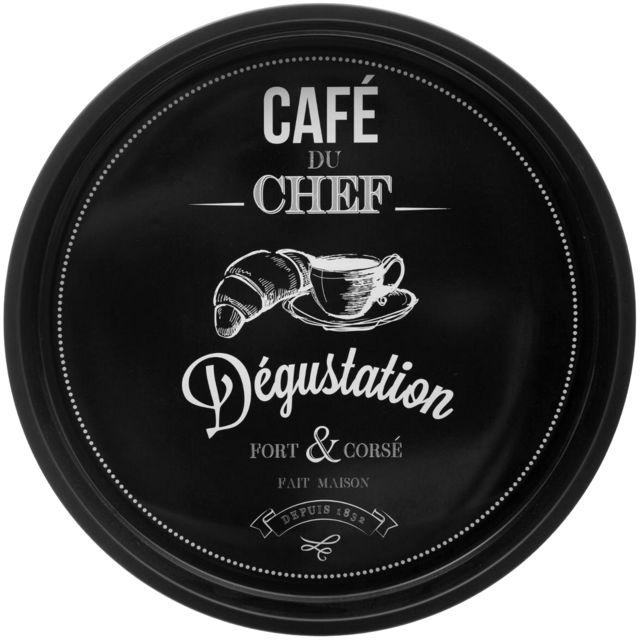 Promobo Plateau Rond De Service En Métal Bistrot Café Du Chef Noir