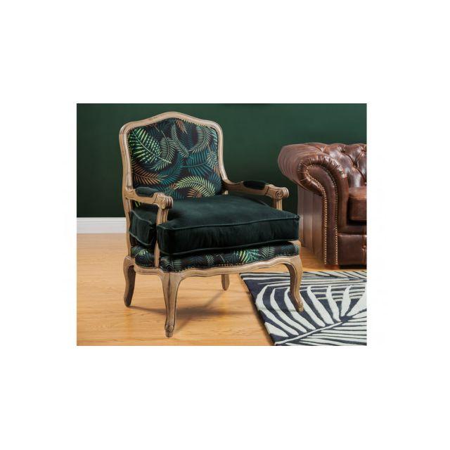 MARQUE GENERIQUE Fauteuil en velours et tissu MAHAUX - Vert imprimé tropical