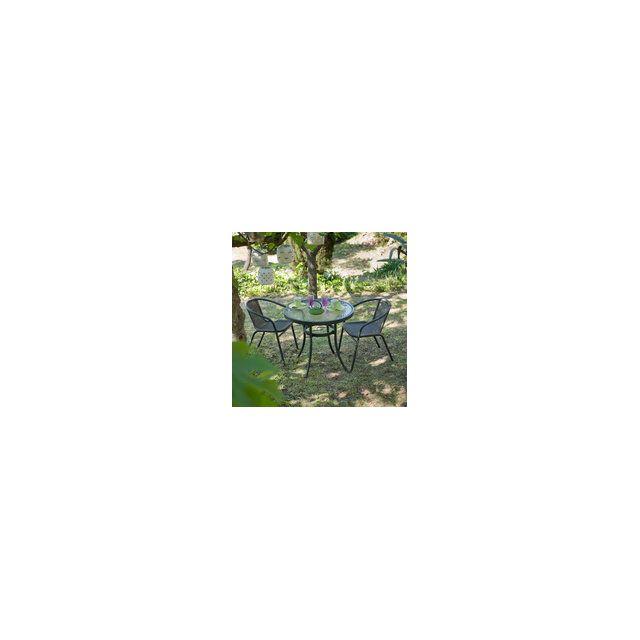 GreenPath - Salon jardin Résine tressée ronde 2 places ...