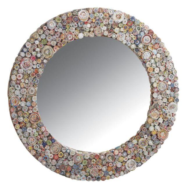 AUBRY GASPARD Miroir Déco rond en papier recyclé