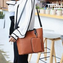 3c9b3b224d Wewoo - Sac porté épaule à main de couleur unie grande capacité pour femmes  brun
