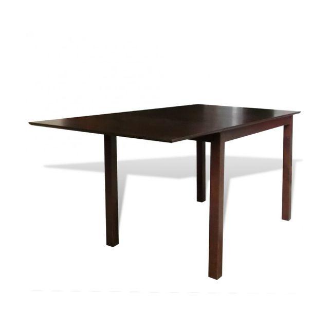 Rocambolesk Superbe Table extensible marron 150 cm en bois massif neuf