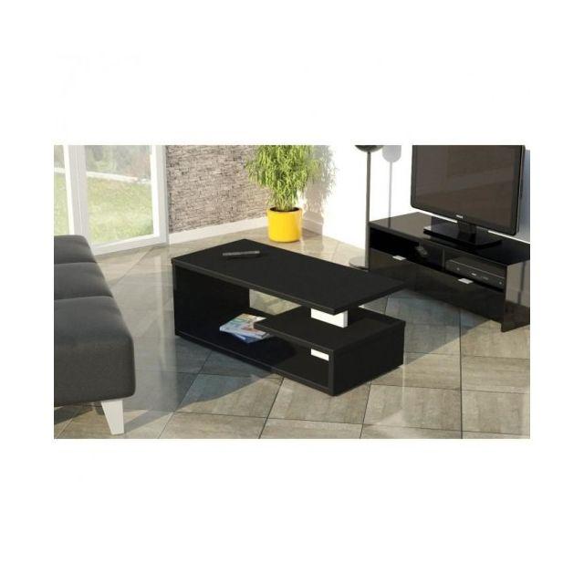 Usines Discount Genesis Table Basse 110 Cm Noir Mat Pas Cher