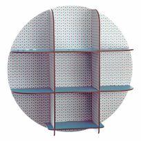 Little Big Room - Etagère murale en bois ronde imprimé pois lignes bleu/rouge D51x15cm Teo