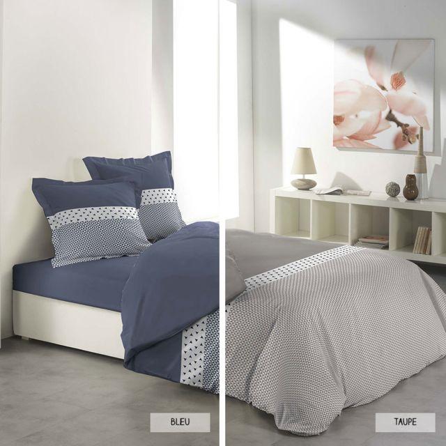 sans marque housse de couette 240 x 260 cm taies agatha deux coloris taupe bleu. Black Bedroom Furniture Sets. Home Design Ideas