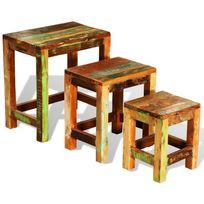 Vimeu-Outillage - Set de 3 tables basses gigognes antique vintage