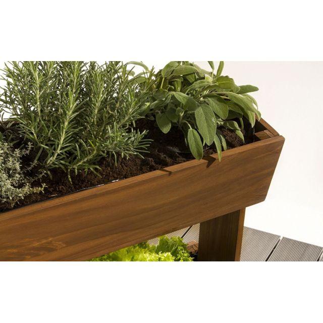 Empasa - Jardinière pour Balcon Hors-sol Surélevée Cube 3 - Bois de sapin 42cm x 100cm x 65cm