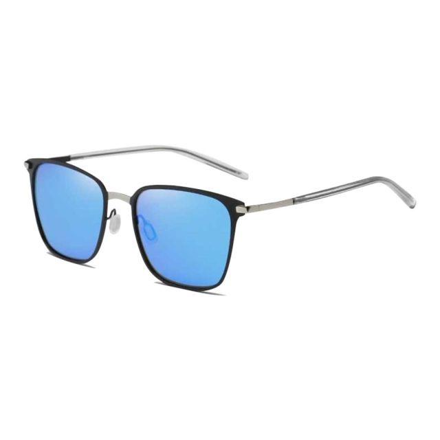 Wewoo - Lunettes de soleil argent et noir bleu Hommes Mode Uv400 Lunettes  de polarisées à d33354bcc2db