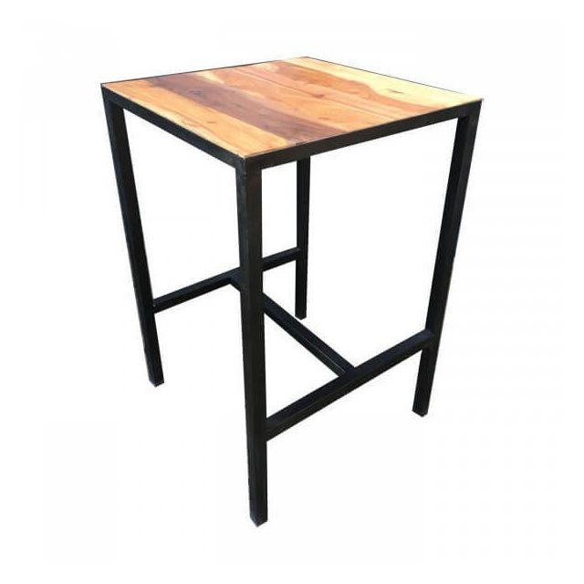 Mathi Design Atelier - Table haute carree acier et bois massif