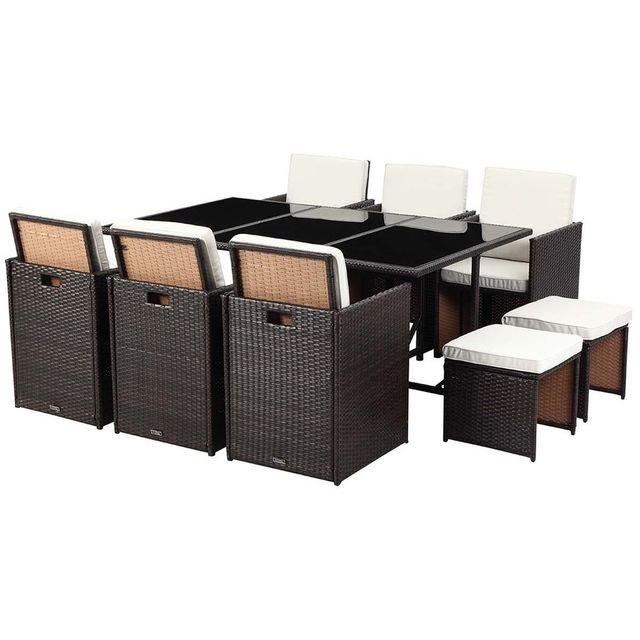 mobilier jardin marron. Black Bedroom Furniture Sets. Home Design Ideas