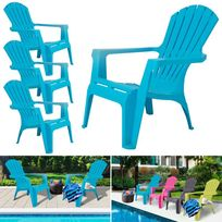Idmarket - Fauteuil chaise de jardin confort lot X4 bleu