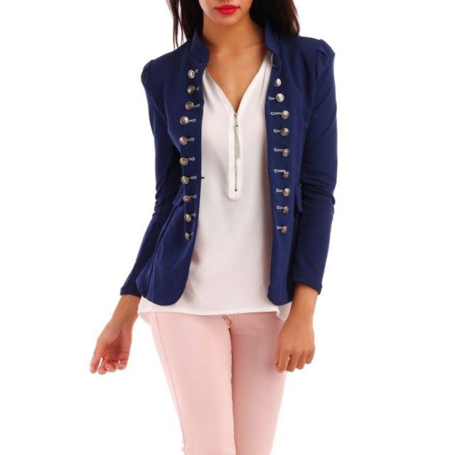 Veste blazer femme bleu marine pas cher