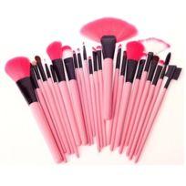 24 pinceaux de maquillage rose de poignée de cheveux de chèvre de Pcs avec la poche