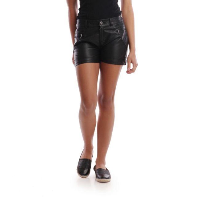Lamodeuse - Short noir simili cuir - pas