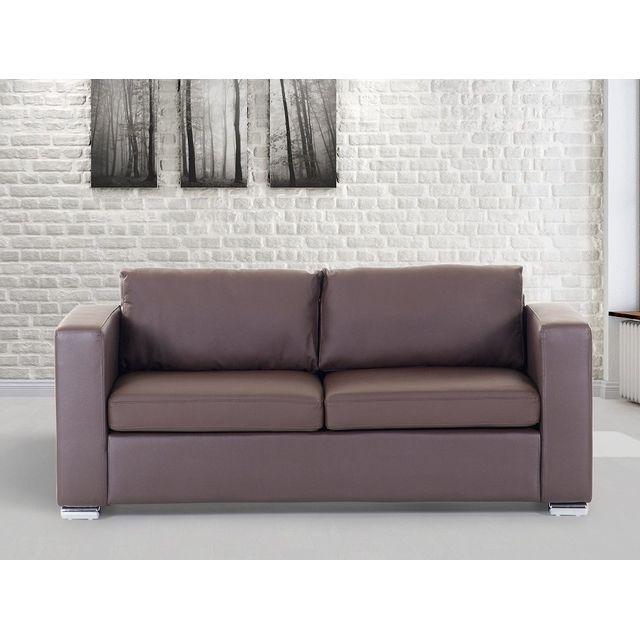 Beliani Canapé 3 places - canapé en cuir brun - sofa Helsinki