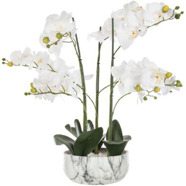 Paris Prix Fleur Artificielle Pot Ciment Orchidee 65cm Marbre