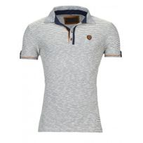 Beststyle - Polo homme rayé marine