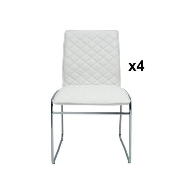 Lot de 4 chaises SYDNEY Simili Pieds luge Blanc