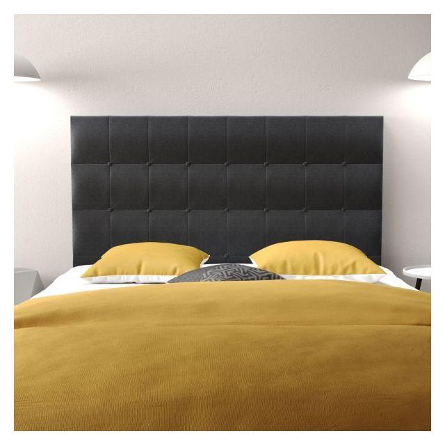 Planete Discount Tête de lit 160 Cosyra Tissu Bois 160x118x8 Couleur Noir