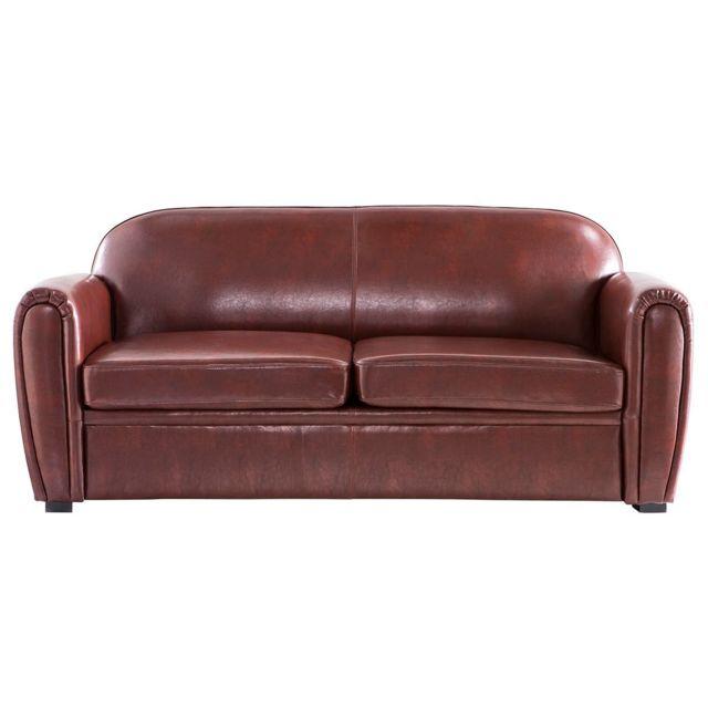 miliboo canap club convertible cuir marron clair 3 places cuir de vachette achat vente. Black Bedroom Furniture Sets. Home Design Ideas
