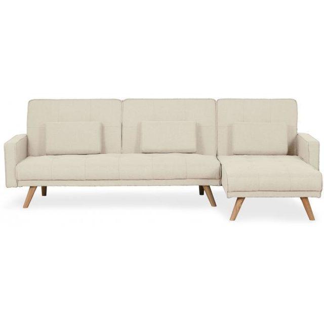 Declikdeco Avec une touche très élégante, le Canapé D'Angle Scandinave Convertible Beige Bilmont au style venant des pays nordiques