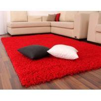 Paco-home - Tapis Poils Hauts et Longs Shaggy Rouge Uni Red Super Prix Nouveau 80D