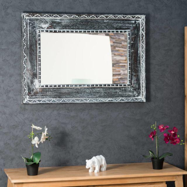 Wanda Collection Miroir Palerme en bois patiné gris cérusé 100cm X 70cm