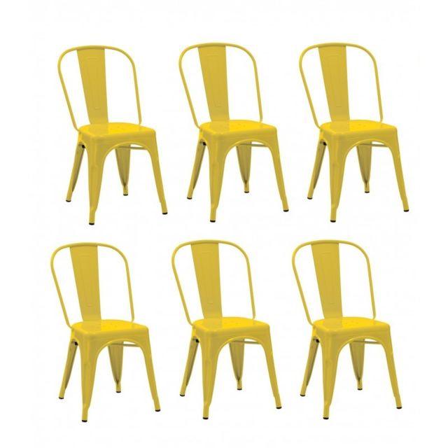 Autre Lot De 6 Chaises Salle Manger Style Industriel Factory Mtal Jaune Cds09248