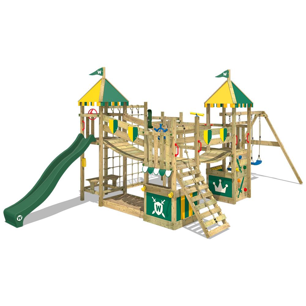 Aire de jeux en bois Smart King avec toboggan vert et balançoire double