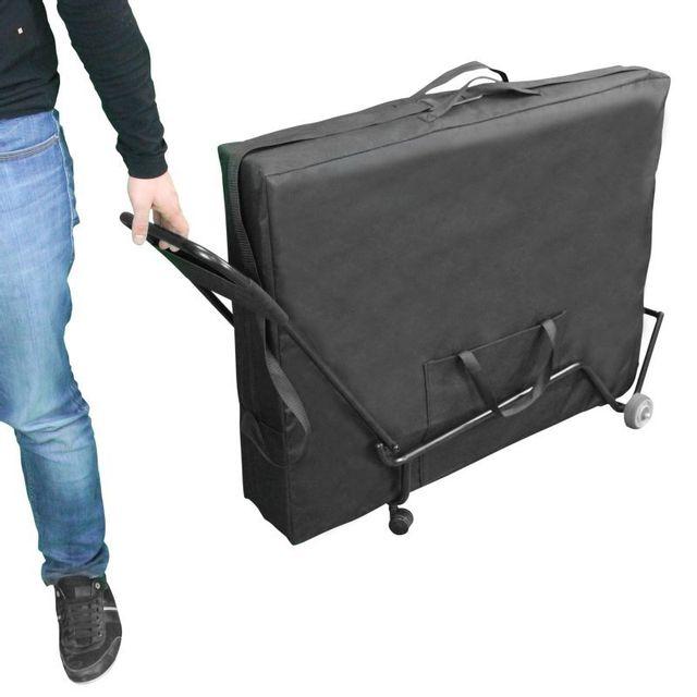 VIVEZEN - Chariot à roulettes pliable et transportable pour table de massage Noir