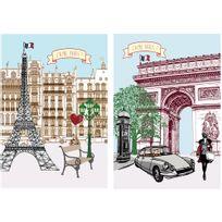 Coucke - Lot De 2 Torchons Paris En Coton - 50 X 75 Cm