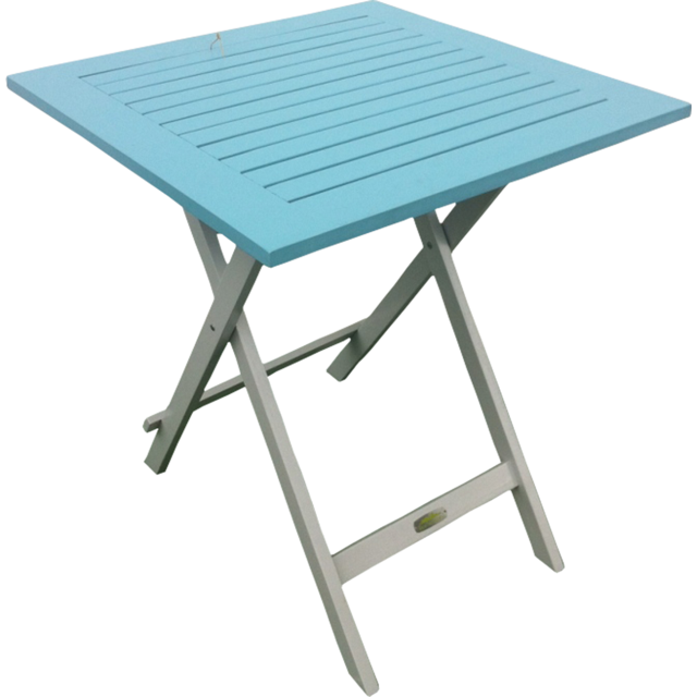 City Green Table de Jardin Pliante en Bois 65 x 65 cm - Bleu